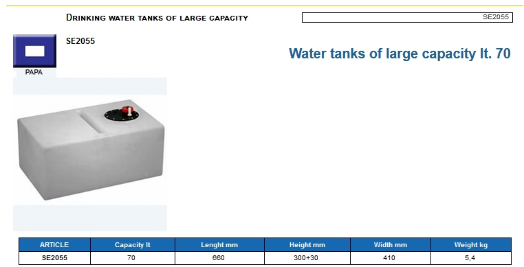Plastic drinking water tank of large capacity lt. 70 - (CAN SB) Code SE2055 6