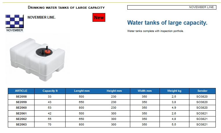 Plastic drinking water tank of large capacity lt. 55 - (CAN SB) Code SE2062 6