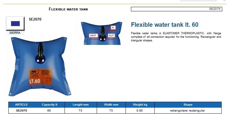 Flexible water tank lt.60 - (CAN SB) Code SE2070 6