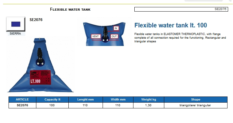 Flexible water tank lt.100 - (CAN SB) Code SE2076 6