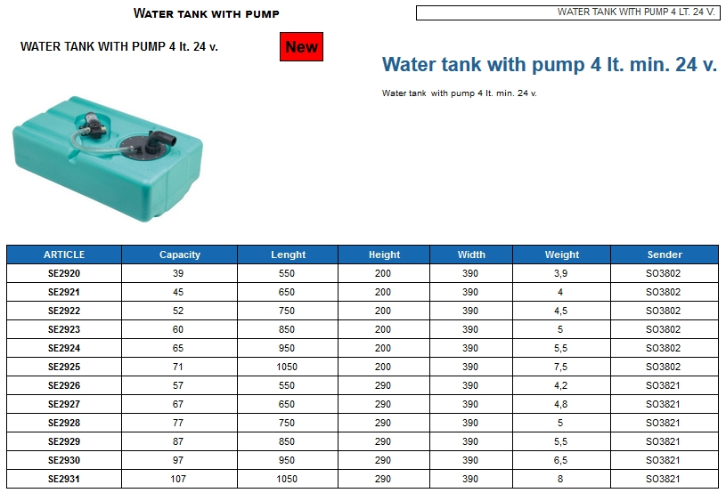 Water tank 52 lt. with pump 4 lt. min. 24 Volt - (CAN SB) Code SE2922 6