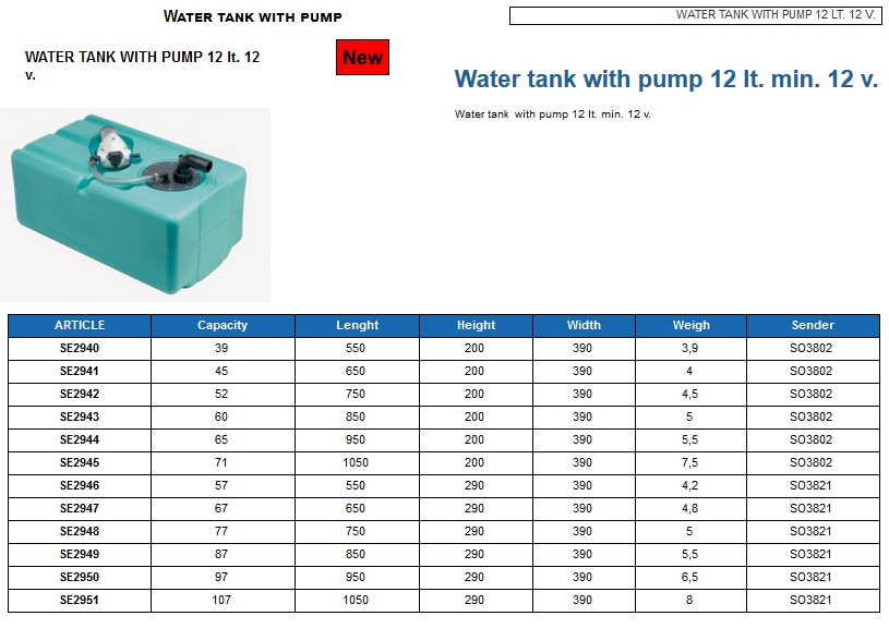 Water tank 97 lt. with pump 12 lt. min. 12 Volt - (CAN SB) Code SE2950 6