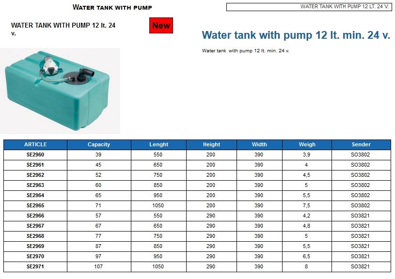 Water tank 45 lt. with pump 12 lt. min. 24 Volt - (CAN SB) Code SE2961 6