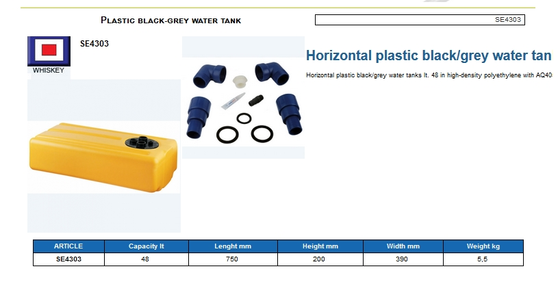 Tank for black-gray waters lt. 48 - (CAN SB) Code SE4303 6