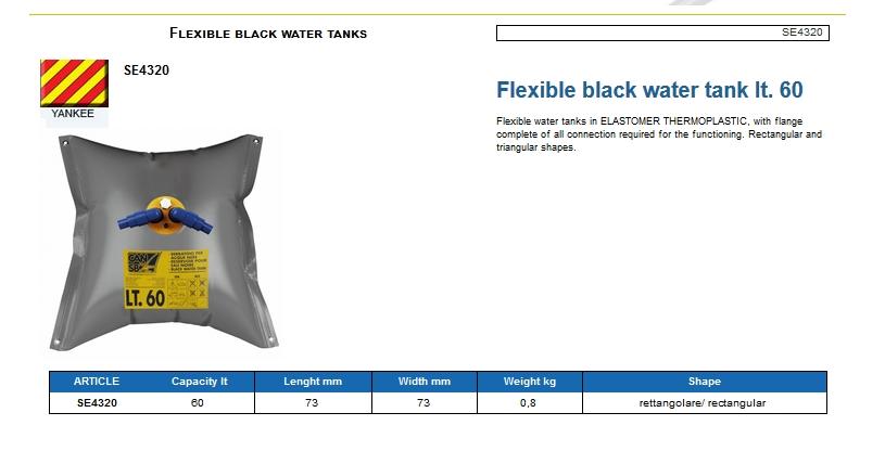 Flexible black water tank lt. 60 - (CAN SB) Code SE4320 6
