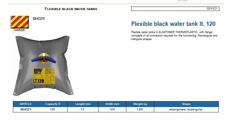 Flexible black water tank lt. 120 - (CAN SB) Code SE4321 6