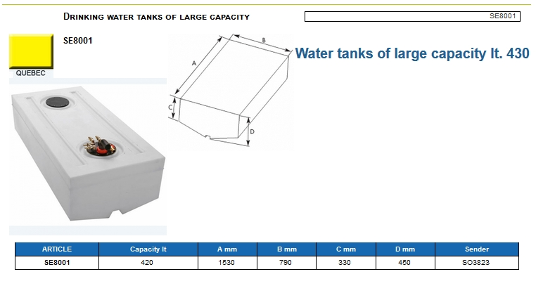 Plastic drinking water tank of large capacity lt. 430 - (CAN SB) Code SE8001 6