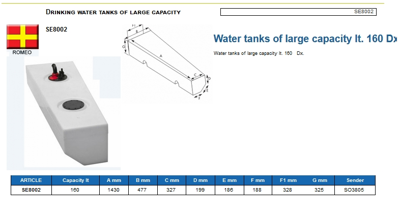 Plastic drinking water tank of large capacity lt. 160 Right - (CAN SB) Code SE8002 6