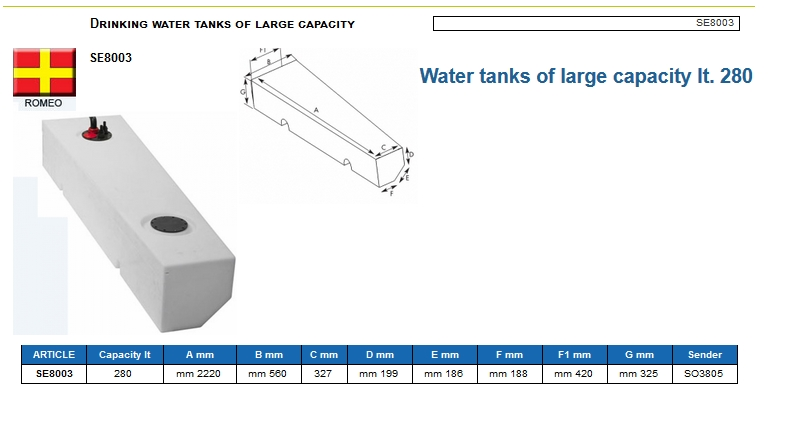 Plastic drinking water tank of large capacity lt. 280 Left - (CAN SB) Code SE8003 6