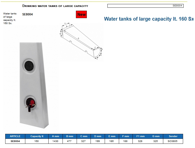 Plastic drinking water tank of large capacity lt. 160 Left - (CAN SB) Code SE8004 6