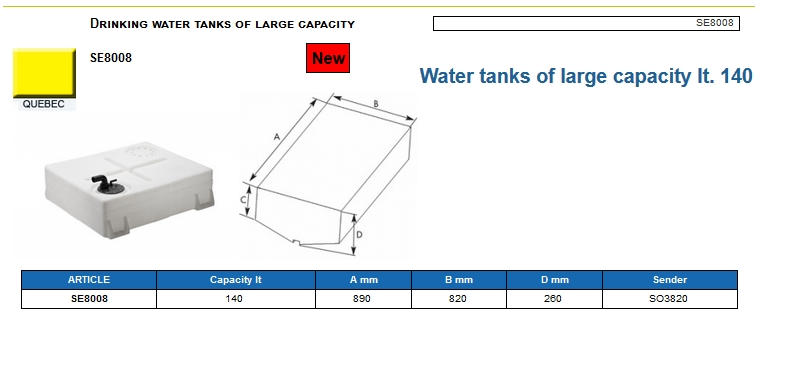 Plastic drinking water tank of large capacity lt. 140 - (CAN SB) Code SE8008 6
