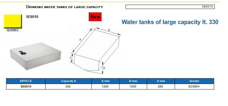 Plastic drinking water tank of large capacity lt. 330 - (CAN SB) Code SE8010 6