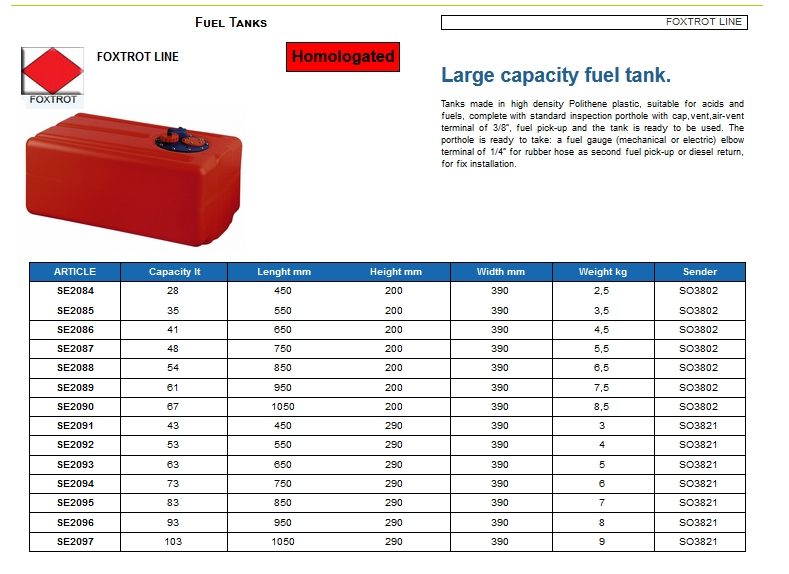 Fuel tank in Eltex, CE certified lt. 48 - (CAN SB) Code SE2087 6