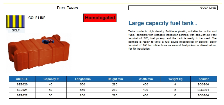 Fuel tank in Eltex, CE certified lt. 65 - (CAN SB) Code SE2022 6