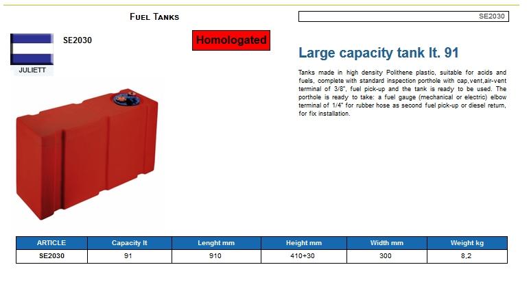 Fuel tank in Eltex, CE certified lt. 91 - (CAN SB) Code SE2030 6