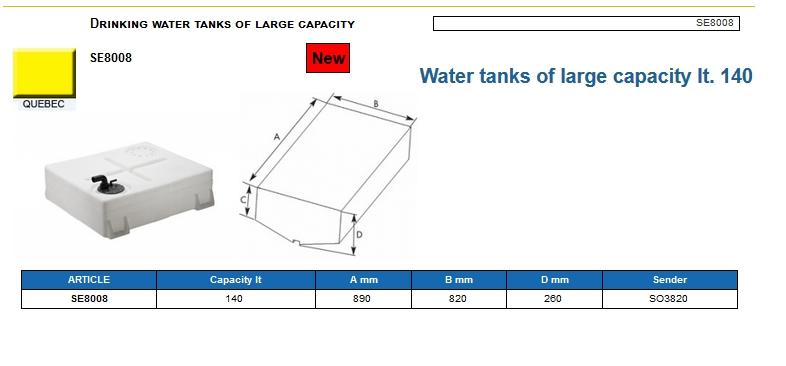 Trinkwassertank mit Stutzen aus hochwertigem und geschmacksneutralem Kunststoff lt. 140 – (CAN SB) – Art. SE8008 4