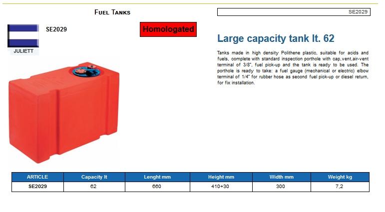 Fuel tank in Eltex, CE certified lt. 62 - (CAN SB) Kod SE2029 6