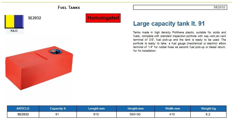Fuel tank in Eltex, CE certified lt. 91 - (CAN SB) Kod SE2032 6