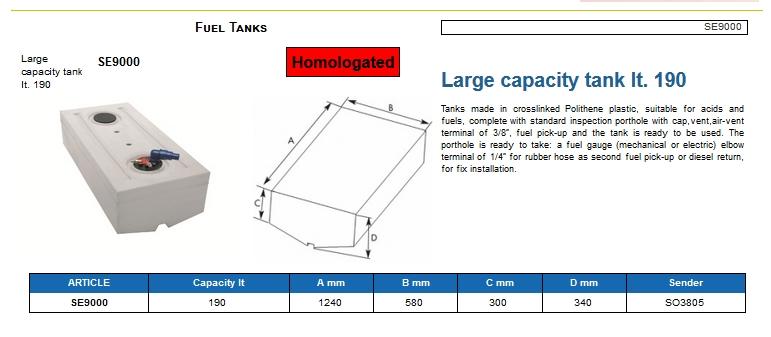 Fuel tank in Eltex, CE certified lt. 190 - (CAN SB) Kod SE9000 6