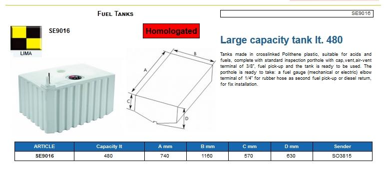 Fuel tank in Eltex, CE certified lt. 480 - (CAN SB) Kod SE9016 6