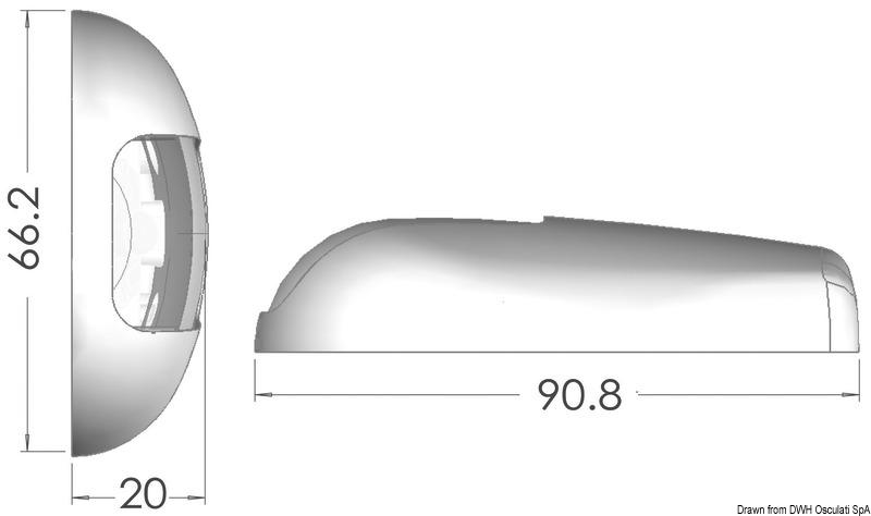 Osculati Sea-Dog Watertight SS 1-nm White LED Navigation Light Flat Mounting 12V