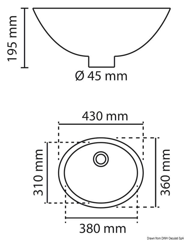 Osculati Oval Plexiglas Sink 39x31cm