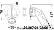 Korek do wlewu wpuszczany, ze stali inox AISI 316 wybłyszczanej, z kolankiem 30°. WASTE - Kod. 20.867.06 5