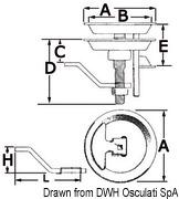 Uchwyt denny i do blokowania pokładu - SS rise floor pull, diam.70mm - Kod. 38.426.80 6