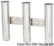 Wall mounting rod holder AISI 316 Nr. 3 rods - Artnr: 41.167.80 8