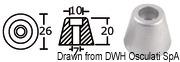 Anoda wymienna turbiny dziobowej/rufowej do Side-Power (Sleipner) - Anodo ric. all. rif.orig. 61180 - Kod. 43.070.21 32