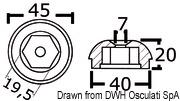 Anoda wymienna turbiny dziobowej/rufowej do Side-Power (Sleipner) - Anodo ric. all. rif.orig. 61180 - Kod. 43.070.21 33
