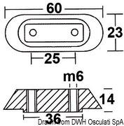 Płytka 10/50 HP - Anodo magnesio piatrina Honda mm 63x25 - Kod. 43.315.23 6