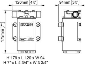 Marco UP1-B Ballast pump with rubber impeller 45 l/min (24 Volt) - Code 16200313 13