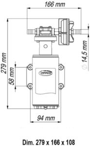 Marco UP10-HD Heavy duty pump with flange, 7 bar, 4.8 gpm - 18 l/min (24 Volt) 13