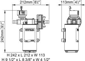 Marco UP12/E-LO 12/24V electronic pump for viscous liquids, PTFE gears 9.5 gpm - 36 l/min 13