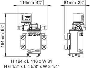 Marco UP2/E-BR 12/24V bronze gear pump with electronic pressure sensor 2.6 gpm - 10 l/min 20