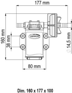Marco UPX-C Pumpe aus Edelstahl für Chemikalien 15 l/min AISI 316 (12 Volt) 10